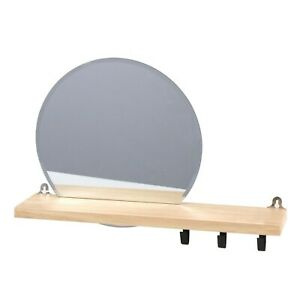 Bathroom Mirror Shelf - Wall Mounted Wooden Shelf With Metal Hooks Feature