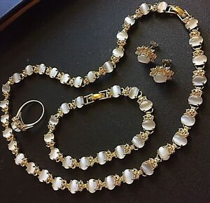Matching gold necklace bracelet earrings ring set with white sim moonstones BOXD