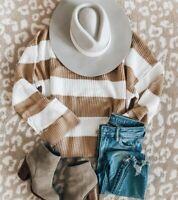 L NWT Boutique Boho Camel Stripe Oversized Cuffed Sweater Women's Size Large