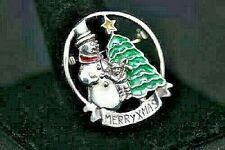 Sterling Silver Vintage Brooch Pin Christmas Tree Snowman Milticolor Enamel