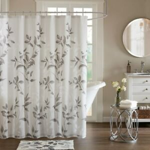 DESIGNER GRAY BOTANICAL SHOWER CURTAIN with LINER : COTTAGE WHITE FLORAL GREY