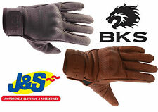 BKS JACK LEATHER GLOVES BLACK BROWN TOURING RETRO CLASSIC SHORT MOTORCYCLE J&S