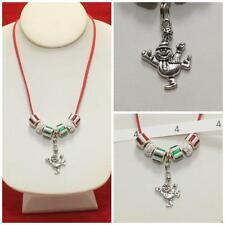 OOK Handmade Dancing Snowman Charm & Murano Glass Beads Necklace Christmas #4