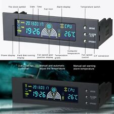 """5.25"""" Bay Front LCD Panel 3 Fan Speed Controller CPU Temperature Sensor LCD IG"""