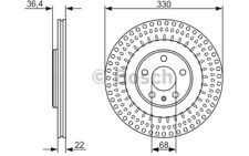 2x BOSCH Discos de Freno Traseros Ventilado 330mm Para AUDI Q5 A5 0 986 479 750