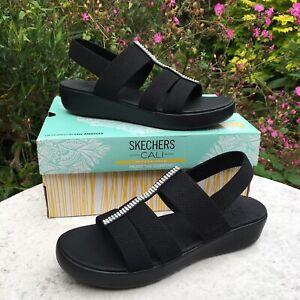 Genuine Skechers Cali Yoga Foam Black Diamante Sandals Women's Size UK 7