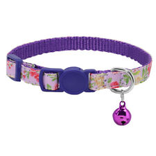 Nylon Floral Cat Breakaway Collar Adjustable Safety Buckle Quick Release & Bell