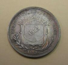 1923 Costa Rica 50 Centimos Counterstamp on 1886 25 Centavos Silver Coin KM#158