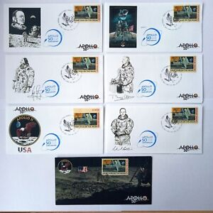 50th Anniversary of Apollo 11 Moon mission Set of 7 FDCs on linen paper USA 2019