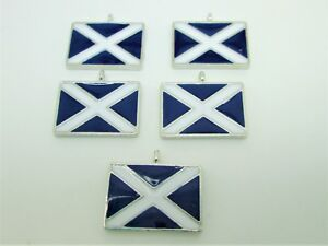 5 X ENAMEL SCOTTISH SCOTLAND SALTIRE FLAG  CHARMS