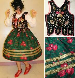 FABULOUS VINTAGE 1950- 60s POLISH FOLK DRESS: KRAKOW SKIRT, BLOUSE & BEADED VEST
