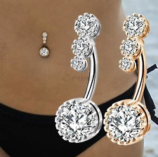 Rose Gold Silver 316L Surgical Steel Belly Bars Clear Cubic Zirconia Navel Rings