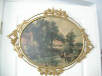 Vintage Large Oval Metal Gold Ornate Picture Frame