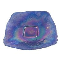 Akcam Turkish Glass Blue Iridescent Glass Rainbow Hue Serving Dish