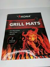 "Kona 16x13"" Extra Tough Non-Stick Reusable BBQ Grill Mat - Black, Set of 2"
