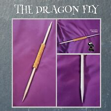 'THE DRAGON FLY' DOUBLE SPEAR TIP COMBAT THROWING SPIKE SWORD w LEATHER HANDLE