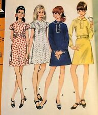 1960s Young Junior Teen DRESS in 4 Versions SMOCK SLEEVE Pattern 9283 7/8 29