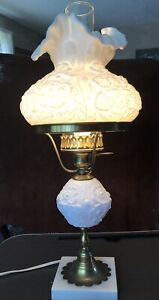 Vintage FENTON GONE WITH THE WIND Lamp White Poppy Electric Works Milk Glass