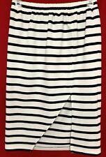 MINKPINK Navy Blue/White Sail Cut Front Slit Elastic Waist Pencil Skirt S ~NWOT