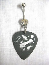 JAMMIN SINGER BOB MARLEY SILVER & BLACK PICTURE GUITAR PICK CZ BELLY BUTTON RING