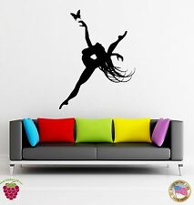 Wall Stickers Vinyl Singer Dance Dancing Girl And Butterfly Living Room (z1650)