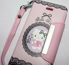 iPhone SE 5S HELLO KITTY LEATHER WALLET FLIP POUCH CASE COVER PINK & WHITE LOVE