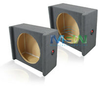 "PAIR of 12"" MDF SHALLOW-MOUNT CAR SUB SPEAKER BOX ENCLOSURES w/ DOWN-FIRE DESIGN"