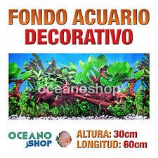FONDO 60x30cm ACUARIO DECORATIVO VINILO TRONCO Y PLANTAS CALIDAD D431