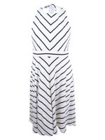 Jessica Howard Women's Bow-Back Striped Fit & Flare Dress (16, Ivory/Black)