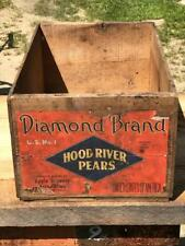 Antique Diamond Brand Hood River Pears Wood Wooden Shipping Box Crate 19.5x12x9