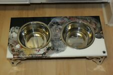 Raised Dog-Cat Feeding Table with 1QT Bowls - BLACK & WHITE