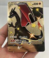 🇫🇷Carte Pokémon Dracaufeu Charizard V Shiny 79/73 PSA Métal Gold Card Karten🥇