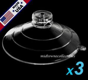 "(3) 2-1/2"" USA FINEST Large Ultra-Duty Mushroom Head Suction Cups 7 LB HOLD"