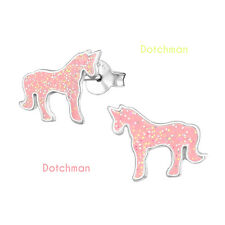 Kids 925 Sterling Silver Unicorn Stud Earrings. Pink With Coloured Glitter.