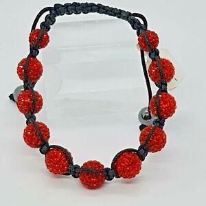 Lucet Mundi Ladies Red Eleven Ball Crystal and Hematite Shamballa Bracelet