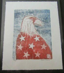 American Eagle Patriot Bird woodblock print Japanese Moku hanga woodcut signed