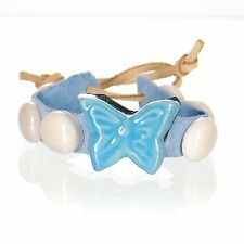 Handcrafted Mosaic Leather Bracelet - Blue Butterfly & White Glass Pebbles