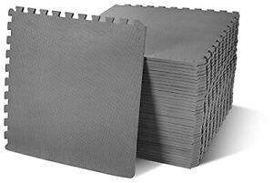 """BalanceFrom Puzzle Exercise Mat with EVA Foam Interlocking Tiles Gray 1/2"""" Th..."""