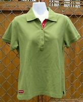 Porsche Women's Olive Green With Red Polo Shirt XL Runs Small