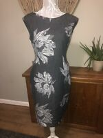 Phase Eight Ladies Size 14 Grey Floral Dress Smart