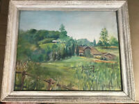"""Mary E Pollard """"Country Home And Landscape Scene"""" Oil Painting - Signed/Framed"""