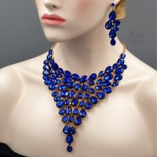 ROSE GOLD Plated Sapphire Blue Crystal Necklace Earrings Jewelry Set 04546