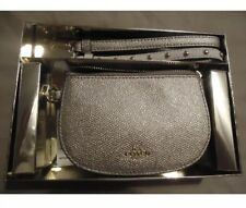 NWT COACH Boxed Wristlet with 2 Straps Small Clutch Bag Platinum - F22717
