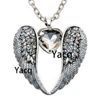 Guardian angel wing Heart pendant necklace women choker jewelry gift silver NC06