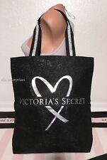 Victoria's Secret Fashion Show 2017 Silver Metallic Black Glitter Tote Bag