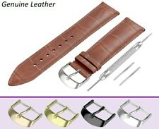 For ROTARY Light Brown Genuine Leather Watch Strap Band Buckle Clasp Pins