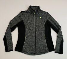 Women's TANGERINE Size Large Running Athleisure Jacket Thumb Loops Black Gray