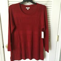Brand New Croft & Barrow Long Sleeve Red Tunic Sweater, Size 1X