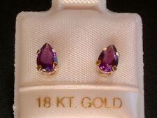 Exclusive Amethyst Ohrstecker - 6 x 4 mm - 18 Kt Gold 750 - Ohrringe Tropfen Cut