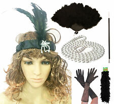 Gatsby Ladies Flapper 20S Theme Charleston Girl Black Fancy Dress Accessories